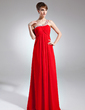 Empire One-Shoulder Floor-Length Chiffon Mother of the Bride Dress With Ruffle Beading Sequins (008015936)