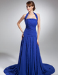 A-Line/Princess Halter Chapel Train Chiffon Mother of the Bride Dress With Ruffle (008015091)