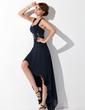 Linia A/Księżniczka Kochanie Asymetryczna Chiffon Sukienka na Zjazd Absolwentów Z Żabot Perełki (022009287)