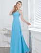 A-Line/Princess V-neck Floor-Length Chiffon Prom Dress With Ruffle Beading (018002658)