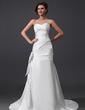 A-Line/Princess Sweetheart Court Train Satin Wedding Dress With Ruffle Bow(s) (002030759)