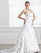 A-Line/Princess Sweetheart Court Train Taffeta Wedding Dress With Ruffle Bow(s) (002005506)