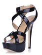 Patent Leather Stiletto Heel Sandals Platform Slingbacks With Buckle shoes (087016465)