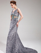 A-Line/Princess V-neck Court Train Tulle Sequined Prom Dress With Beading (018019069)