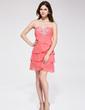 Empire Sweetheart Short/Mini Chiffon Homecoming Dress With Beading (022027095)