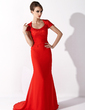 Trumpet/Mermaid Scoop Neck Court Train Chiffon Lace Mother of the Bride Dress (008006808)