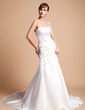 Trumpet/Mermaid Sweetheart Chapel Train Satin Wedding Dress With Embroidered Ruffle Beading Sequins (002012173)