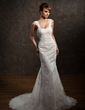 Trumpet/Mermaid Sweetheart Chapel Train Tulle Wedding Dress With Beading Appliques Lace (002011449)