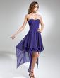 Linia A/Księżniczka Kochanie Asymetryczna Chiffon Sukienka na Zjazd Absolwentów Z Żabot (018015523)