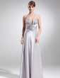 A-Line/Princess Sweetheart Sweep Train Charmeuse Prom Dress With Ruffle Beading (018002497)