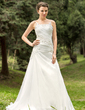 A-Line/Princess Scoop Neck Court Train Organza Wedding Dress With Ruffle Beading Appliques Lace (002012687)