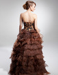 A-Line/Princess Sweetheart Asymmetrical Organza Prom Dress With Beading Appliques Lace Sequins Cascading Ruffles (018014700)