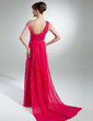 A-Line/Princess Off-the-Shoulder Watteau Train Chiffon Prom Dress With Ruffle Beading (018015333)
