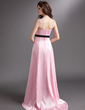 A-Line/Princess Sweep Train Charmeuse Bridesmaid Dress With Sash Bow(s) (007020744)