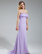 Sheath/Column Sweetheart Sweep Train Chiffon Bridesmaid Dress With Beading Cascading Ruffles (007019635)