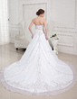 Ball-Gown Sweetheart Cathedral Train Satin Organza Wedding Dress With Embroidered Beading Sequins (002012747)