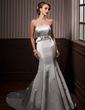 Trumpet/Mermaid Strapless Court Train Satin Wedding Dress With Sash Beading Bow(s) (002001174)