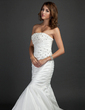 Trumpet/Mermaid Strapless Court Train Taffeta Wedding Dress With Ruffle Beading (002015352)