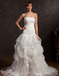 Ball-Gown Strapless Chapel Train Organza Prom Dress With Ruffle Beading Appliques Lace Split Front (018015057)