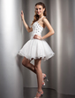 A-Line/Princess Halter Short/Mini Organza Homecoming Dress With Beading (022013780)