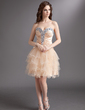 A-Line/Princess Sweetheart Short/Mini Charmeuse Tulle Homecoming Dress With Beading Cascading Ruffles (022016298)