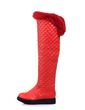 Suni deri Düz Topuk Diz Yüksek Boots Ile Kürk ayakkabı (088057262)