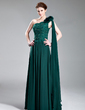 A-Line/Princess One-Shoulder Floor-Length Chiffon Lace Evening Dress With Beading Flower(s) (017019727)