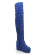 Suede Wedge Heel Over The Knee Boots With Sequin shoes (088039448)