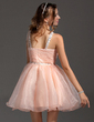 Empire V-neck Short/Mini Organza Homecoming Dress With Ruffle Beading Sequins (022011155)