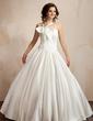 Balo Elbisesi V Yaka Uzun Etekli Satin Gelinlik (002001192)