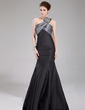 Trumpet/Mermaid One-Shoulder Floor-Length Taffeta Prom Dress With Ruffle Beading (018005107)