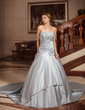 Ball-Gown Sweetheart Watteau Train Satin Wedding Dress With Ruffle Lace Beading Sequins (002004224)