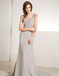 Trumpet/Mermaid V-neck Court Train Chiffon Mother of the Bride Dress With Ruffle Lace Beading (008014219)