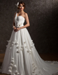 Ball-Gown One-Shoulder Chapel Train Tulle Wedding Dress With Ruffle Beading Appliques Lace Flower(s) (002006373)