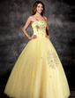 Ball-Gown Strapless Floor-Length Organza Quinceanera Dress With Beading (021017112)
