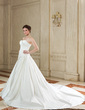 Ball-Gown Sweetheart Chapel Train Satin Wedding Dress With Ruffle (002000587)