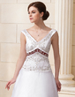 A-Line/Princess V-neck Chapel Train Satin Wedding Dress With Beading Sequins (002012870)