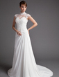 A-Line/Princess High Neck Court Train Chiffon Tulle Wedding Dress With Ruffle Lace Beading (002012176)