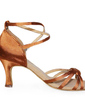 Women's Satin Heels Sandals Latin With Ankle Strap Dance Shoes (053006989)