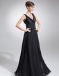 A-Line/Princess V-neck Floor-Length Chiffon Charmeuse Mother of the Bride Dress With Ruffle Beading (008006052)