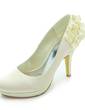 Women's Satin Cone Heel Closed Toe Platform Pumps With Satin Flower (047017777)