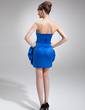 Sheath/Column Scalloped Neck Short/Mini Satin Cocktail Dress With Ruffle Flower(s) (016016731)