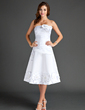 A-Line/Princess Strapless Knee-Length Satin Homecoming Dress With Ruffle Flower(s) (022015571)