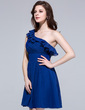 A-Line/Princess One-Shoulder Short/Mini Chiffon Bridesmaid Dress With Cascading Ruffles (007037188)