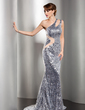 Trumpet/Mermaid One-Shoulder Sweep Train Tulle Sequined Evening Dress (017014549)