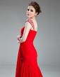 Trumpet/Mermaid Sweetheart Court Train Chiffon Evening Dress With Ruffle Beading (017019716)