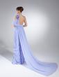 Çan/Prenses Tek-Omuzlu Watteau Kuyruk Chiffon Gece Elbisesi Ile Büzgü Çiçek(ler) (017014983)