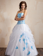 Ball-Gown Sweetheart Floor-Length Organza Quinceanera Dress With Embroidered Ruffle (021002283)