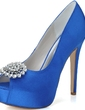 Kadın Satin İnce Topuk Peep Toe Platform Pompalar Sandalet Ile Yapay elmas (047057071)