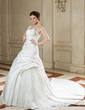 Ball-Gown Scalloped Neck Chapel Train Satin Organza Wedding Dress With Ruffle Lace Beading (002000588)